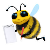 3d Bee takes notes. 3d render of a bee with a notepad and pencil Stock Photo