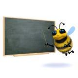 3d Bee teacher. 3d render of a bee at a blackboard Stock Photo
