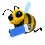 3d Bee USB. 3d render of a honey bee carrying a USB stick Stock Image