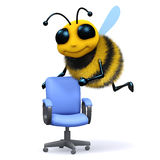 3d Bee vacancy. 3d render of a honey with an empty office chair Royalty Free Stock Image