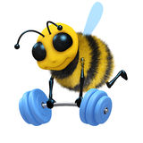 3d Bee weightlifter. 3d render of a bee lifting weights Royalty Free Stock Images