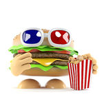 3d Beefburger eating popcorn at the movies. 3d render of a beefburger eating popcorn and wearing 3d glasses Stock Photography