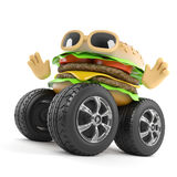 3d Beefburger with giant wheels. 3d render of a beefburger with giant wheels Stock Photography