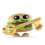 3d Beefburger has a gold key. 3d render of a beefburger holding a gold key Royalty Free Stock Photos