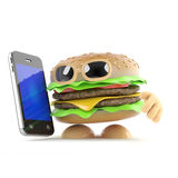 3d Beefburger has a new smartphone Royalty Free Stock Images