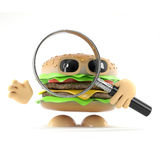 3d Beefburger looks through a magnifying glass. 3d render of a beefburger with a magnifying glass Royalty Free Stock Image
