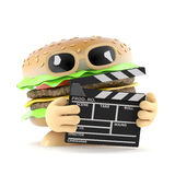 3d Beefburger makes a movie. 3d render of a beefburger with a clapperboard Royalty Free Stock Photos