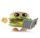 3d Beefburger reads a newspaper Royalty Free Stock Photos