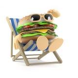3d Beefburger relaxes in a deckchair. 3d render of a beefburger sunbathing in a deck chair Stock Photography