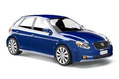 3D Beeld van Blauwe Auto Stock Foto
