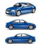 3D Beeld van Blauwe Familieauto vector illustratie