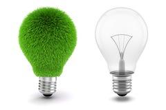 3d beeld van gloeilamp, duurzaam energieconcept Royalty-vrije Stock Afbeelding