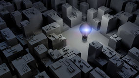 3d beeld van heldere gloeilamp en stad, groen energieconcept Royalty-vrije Stock Afbeeldingen