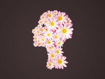 3d beeld van het hoofd van de meisjesbloem vector illustratie