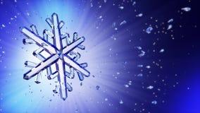 3d beeld van kristalsneeuwvlok tegen blauwe achtergrond Stock Foto