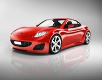 3D Beeld van Rode Sportwagen Stock Fotografie