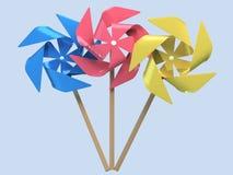 3d beeldverhaal stileerde kleurrijke windmolens royalty-vrije illustratie