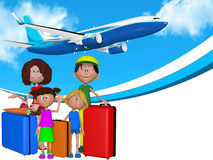 3d beeldverhaalfamilie die op vakanties gaan Stock Afbeeldingen