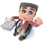 3d Beeldverhaaljongen die in rolstoel een het winkelen mand houden vector illustratie
