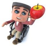 3d Beeldverhaaljongen die in rolstoel een rode appel houden stock illustratie
