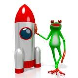 3D beeldverhaalkikker - ruimteconcept Stock Foto