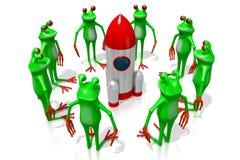 3D beeldverhaalkikkers - ruimteconcept Royalty-vrije Stock Foto