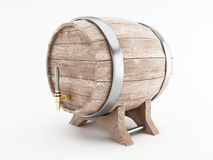 3d Beer barrel against white background. 3d renderer image. Beer barrel.  white background Stock Photos