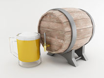 3d Beer barrel with frosty glass of beer. 3d renderer image. Beer barrel with frosty glass of beer.  white background Stock Photos