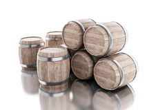 3d Beer barrels against white background. 3d renderer image. Beer barrels.  white background Stock Photos