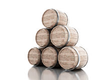3d Beer barrels against white background. 3d renderer image. Beer barrels.  white background Stock Image