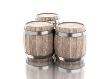 3d Beer barrels against white background. 3d renderer image. Beer barrels.  white background Royalty Free Stock Photos
