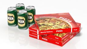 3D beer cans and pizza boxes. On white Stock Photo