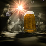 3d beer heaven. 3d abstract glass of beer in the clouds Royalty Free Stock Photos