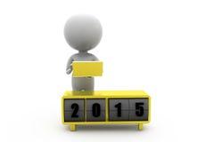 3d begrepp för nytt år för man 2015 Fotografering för Bildbyråer