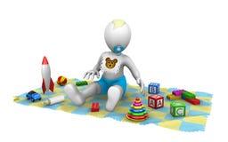 3d behandla som ett barn pojken med leksaker Arkivfoto