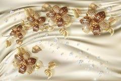 3D behang, gouden juwelenbloemen op zijdeachtergrond royalty-vrije stock afbeeldingen