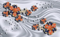3D behang, juwelenbloemen op zilveren zijdeachtergrond Vierings 3d achtergrond stock illustratie
