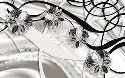 3D behang, Juwelenbloemen, zilveren zijde en abstracte achtergrond Rebecca 36 royalty-vrije illustratie