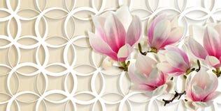 3d behang, magnolia op ringenachtergrond vector illustratie