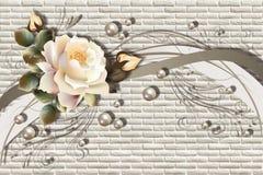 3d behang, rozen en parels op metselwerkachtergrond royalty-vrije illustratie