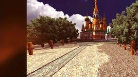 16 3D belebten Hintergrund mit russischem Artschloss und Allee von Bäumen stock abbildung