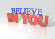 3D Believe in you. With long shadow royalty free illustration