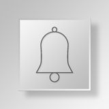 3D Bell icon Business Concept. 3D Symbol Gray Square Bell icon Business Concept Stock Image