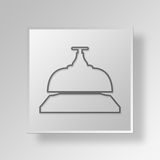3D Bell icon Business Concept. 3D Symbol Gray Square Bell icon Business Concept Royalty Free Stock Photo