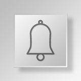 3D Bell icon Business Concept. 3D Symbol Gray Square Bell icon Business Concept Royalty Free Stock Photos