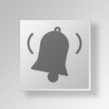 3D Bell icon Business Concept. 3D Symbol Gray Square Bell icon Business Concept Royalty Free Stock Images