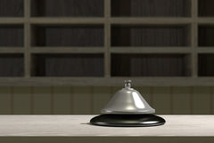 3d bell. 3d rendering of an hotel bell on reception Stock Photo