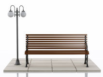 3d Bench and street lamp on white background. 3d illustration. Bench and street lamp. Isolated white background Stock Photos