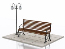 3d Bench and street lamp on white background. 3d illustration. Bench and street lamp. Isolated white background Stock Photo
