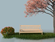 3d bench under a flower blooming tree. In a white stage Royalty Free Stock Photo